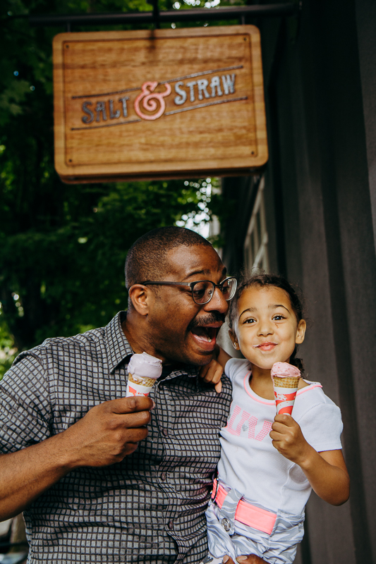 Father and Daughter at Salt & Straw, Nob Hill Portland