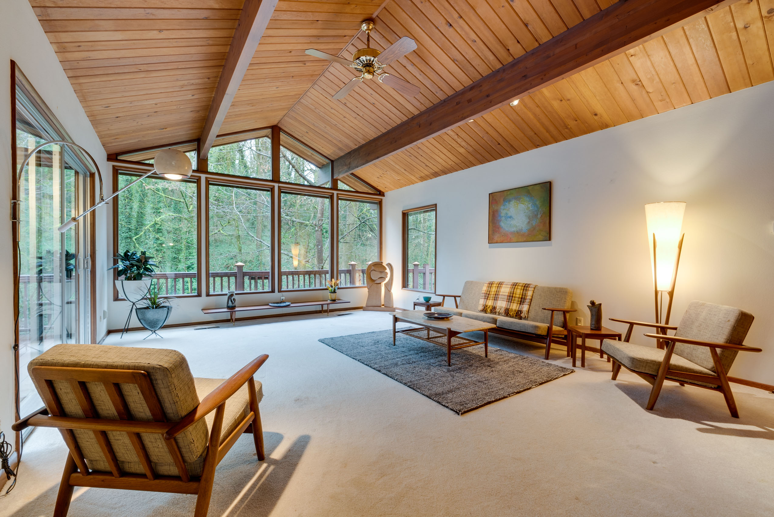 Just Listed Truly Unique Midcentury Treehouse Living Room Realty